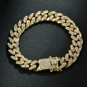 Punk Luxury Cuban Thick Link Crystal Bracelets Women Men Jewelry Gold Bangles