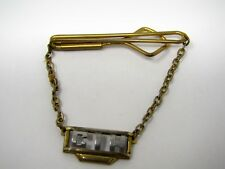 Vintage Collectible Tie Bar: Letters Initials CIH Art Deco Hanging Chain Style