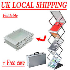 Folding Literature Brochure Rack Exhibition Show Display Stand Leaflet Holder A4