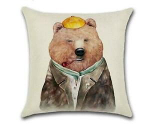 """BEAR WITH PIPE 🐻 Heavy Linen CUSHION COVER 🐻 18""""x18"""" 🍁CANADIAN SELLER🍁"""