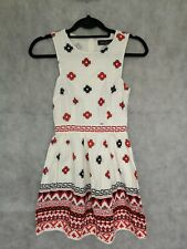 TOPSHOP Womens Ecru Red and Black Pattern Fit & Flare Fully Lined Dress Size 4