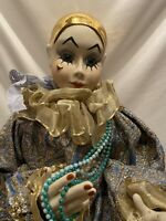 Vintage Harlequin Doll Deco Porcelain Pierrot Reinart Faelens