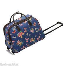 Ladies Travel Bags Holdall Hand Luggage Women's Weekend Handbag Wheeled Trolley Navy Butterfly S3