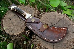CUSTOM HANDMADE HUNTING TACTICAL DAGGER BOWIE KNIFE BRASS GUARD CROWN STAG GRIP