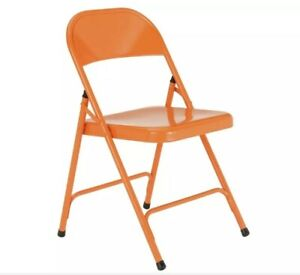 NEW Metal Folding Chair Office Dinning Outdoors Garden Party Picnic Chair Orange