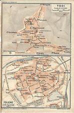Carta geografica antica TODI FOLIGNO Perugia Umbria TCI 1923 Old antique map