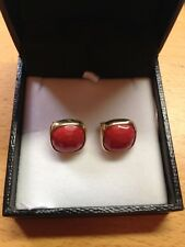 18CT Yellow Gold Natural Red Coral Lever back Earrings