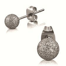316L Surgical Stainless Steel Frosted Dust Ball Studs Earrings 5mm CLEARANCE