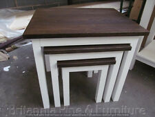 HAMPSHIRE DARK PAINTED NEST OF 3 TABLES /SOLID PINE - SOLID OAK - IVORY