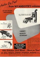 1954 PAPER AD Wyandotte's Toy Sand Loader Dump Truck Front Loader Pistol Cap Gun