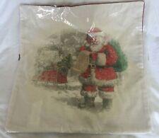 "Pottery Barn Nostalgic Santa List Pillow Cover 20"" square  NWT NLA"