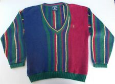 Vintage Chaps Ralph Lauren Color Block with Crest V Neck Sweater 1990s Made USA