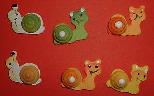 12 Wooden Snails Card Topper Embellishments