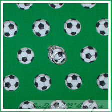 BonEful Fabric FQ Cotton Quilt Green B&W Black White Soccer Ball Kid Sport Retro