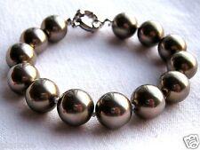 "12mm Mother of Pearl Bead Bracelet Bronze Silvertone Clasp 7.5"" Long"