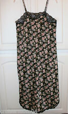 Barbizon Black Floral Polyester Nightgown Lace Sz M VGC