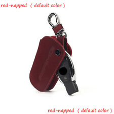 For Benz Cowhide Car Key Case FOB Holder Keychain Remote Cover Red Suede Leather