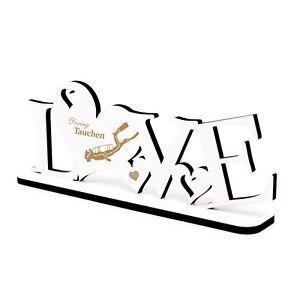 Deko Aufsteller LOVE & Tauchen Taucher Diving Motiv Schriftzug Buchstaben 20x8cm