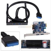 "PCI Express 2 Port USB 3.0 PCI-E Card Adapter 3.5"" Expansion Bay Front Panel Set"
