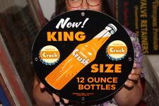 Orange Crush King Size 12oz Soda Pop Bottle Gas Station Porcelain Metal Sign