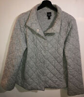 Eileen Fisher Women's Jacket Size Small Gray Quilted Puff Front Button Snaps