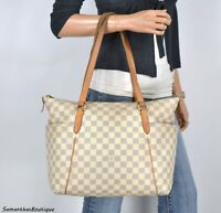 LOUIS VUITTON TOTALLY MM DAMIER AZUR LEATHER TOTE SHOULDER BAG HANDBAG PURSE