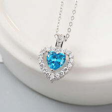 Womens Sterling Silver Blue Heart Love Crystal Pendant Necklace Chain Jewelry 18