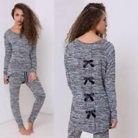 New Women Ladies Bow Back Grey Tracksuit Lounge 2 pc set Home UK Plus size 8-26