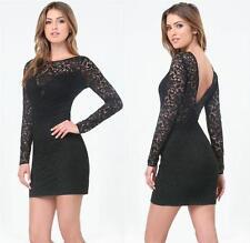 NWT bebe black lace plunge long sleeve low v back sexy  top dress XXS X XS 00