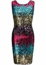 Pailletten Partykleid, 24-361 in Pink/Blau Gemustert 32/34