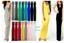 Womens Sleeveless Maxi Summer Dress Vest Racer Muscle Back Maxi Long Jersey 8-26