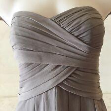 916dbb1af98 DAVIDS BRIDAL Short Crinkle Chiffon Dress w Front Cascade Gray Style F14847  Sz 4
