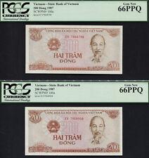 "TT PK 100a 1987 VIETNAM 200 DONG ""HO CHI MINH"" PCGS 66 PPQ GEM NEW ""SET OF 2"""