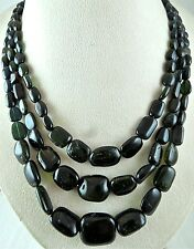700 CTS MULTI BLACK TOURMALINE LONG BEADS NECKLACE WITH SILVER HOOK