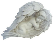 Cherub Sleeping Winged Lying Baby Angel White Ivory Resin Figurine Memorial 7cm