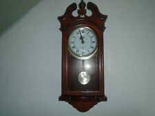 Vintage Wooden Wall Clock Timemaster Westminster Chimes Battery Powered Pendulum