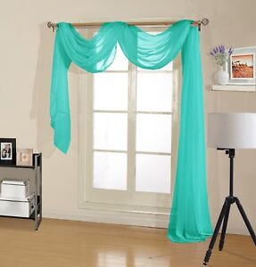 Decotex Premium Quality Sheer Voile Scarf Valance for Home Window & Event Design