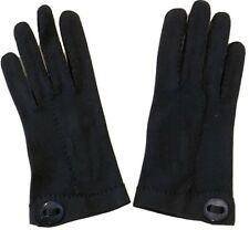 Vintage FOWNES DOETTE DE LUXE NAVY DOUBLE WOVEN COTTON Ladies Gloves sz 6 1/2