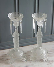 PAIR Rare frosted Glass Sacred Heart Candlestic Madonna  Val Saint Lambert 1913