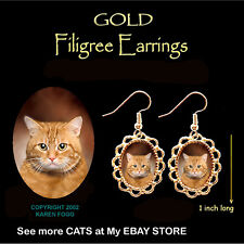 Tabby Orange Shorthair Cat - Gold Filigree Earrings Jewelry