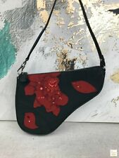 CHRISTIAN DIOR Black Nylon Neoprene Red Floral Embroidered Mini Saddle Bag Rare