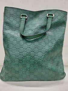 Green Gucci Guccissima Leather Slim Tote Bag