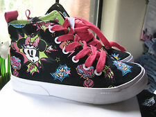 Disney Parks Girl's Size 3 High Top Mickey Minnie comic Black Multi Sneakers Nwt