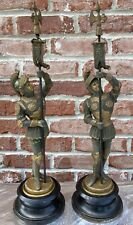 Pair Of Vintage Spelter Pot Metal Knight Statue