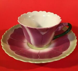 FLOWER CUP & SAUCER TWO'S COMPANY CONSERVATORY COLLECTION BLOOMING FLOWER HANDLE