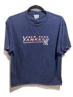 Vintage Lee Sport New York Yankees MLB Graphic Tshirt Navy Blue Size XL