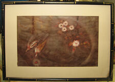 Matabee Goto '59 Modernist Asian WC of Birds and Flowers Listed Japanese Artist