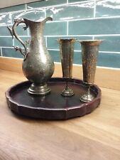 More details for large vintage indian (benares?) brass pitcher or jug , very ornate + 2  goblets
