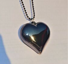 High Gloss Metallic Color Black 3D Heart Of The Darkness Pendant Long Chain