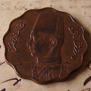 EGYPT. 1943 FAROUK Bronze 5 MILLIEMES. NICE